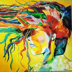 free girl, 14 x 18 inch, kiran perke,paintings,abstract paintings,paintings for living room,canvas board,oil,14x18inch,GAL039709236