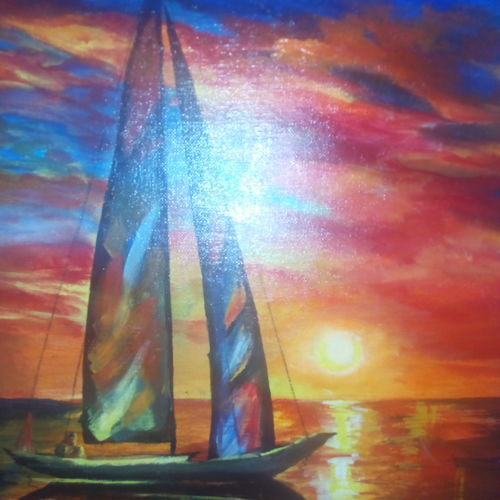 sun set, 16 x 20 inch, bhakthi suvarna,paintings,nature paintings,paintings for living room,canvas,acrylic color,16x20inch,GAL040329237Nature,environment,Beauty,scenery,greenery,boat,sunset,light