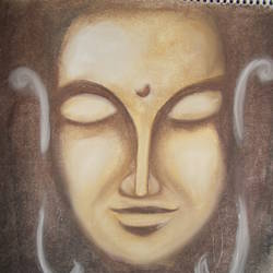 lord buddha, 12 x 16 inch, kajal  sharma,paintings,buddha paintings,paintings for office,thick paper,pastel color,12x16inch,religious,peace,meditation,meditating,gautam,goutam,buddha,brown,face,smiling,GAL035729238