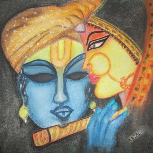 krishna with radha, 12 x 12 inch, kajal  sharma,religious paintings,paintings for living room,radha krishna paintings,thick paper,pastel color,12x12inch,GAL035729239,radha,krishna,love,lord,flute,radhakrishna,lordkrishna,lordradha