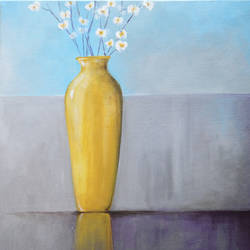 a yellow vase, 18 x 18 inch, mitisha vakil,paintings,abstract paintings,paintings for dining room,canvas,acrylic color,18x18inch,GAL026419241