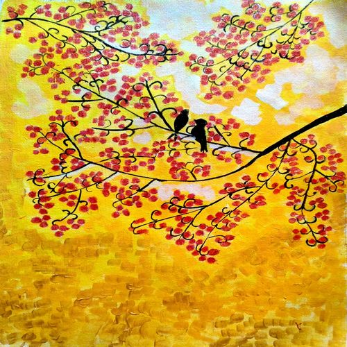 the birds in yellow, 11 x 16 inch, abhik mahanti,paintings,flower paintings,paintings for bedroom,canvas,acrylic color,11x16inch,GAL040449280