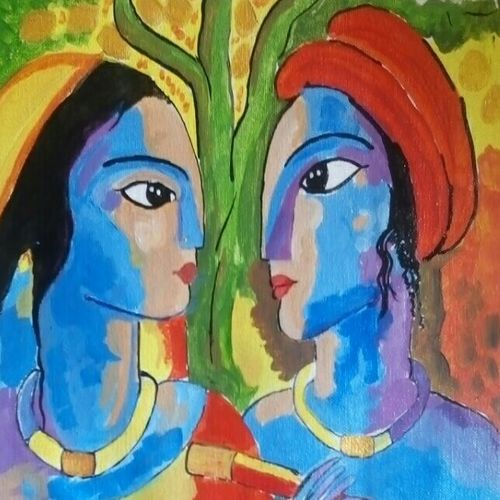 radha krishn love in nature , 16 x 12 inch, abhik mahanti,paintings for living room,radha krishna paintings,canvas,acrylic color,16x12inch,GAL040449283,radhakrishna,love,pece,lordkrishna,lordradha,peace,radha,krishna,devotion,couple