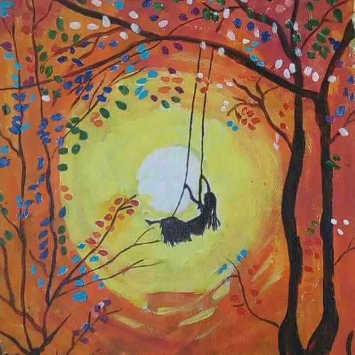 the swing, 12 x 16 inch, abhik mahanti,paintings,landscape paintings,paintings for living room,canvas,acrylic color,12x16inch,GAL040449284