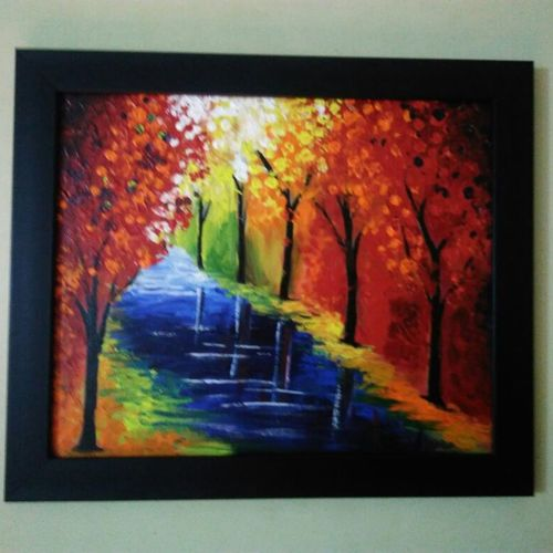 fall colors, 12 x 14 inch, sowjanya s v,paintings,landscape paintings,paintings for living room,canvas,acrylic color,12x14inch,GAL040489286