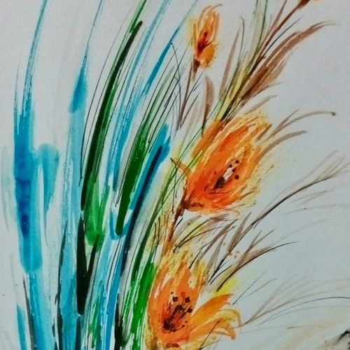 flowers, 24 x 24 inch, ananya  nath ,paintings,abstract paintings,paintings for living room,thick paper,enamel color,24x24inch,GAL037969287