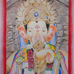 lalbaugcha raja ganpati (the king of lalbaug), 11 x 14 inch, akshay patil,paintings,ganesha paintings,paintings for living room,drawing paper,pencil color,11x14inch,GAL036639294,vinayak,ekadanta,ganpati,lambodar,peace,devotion,religious,lord ganesha,lordganpati