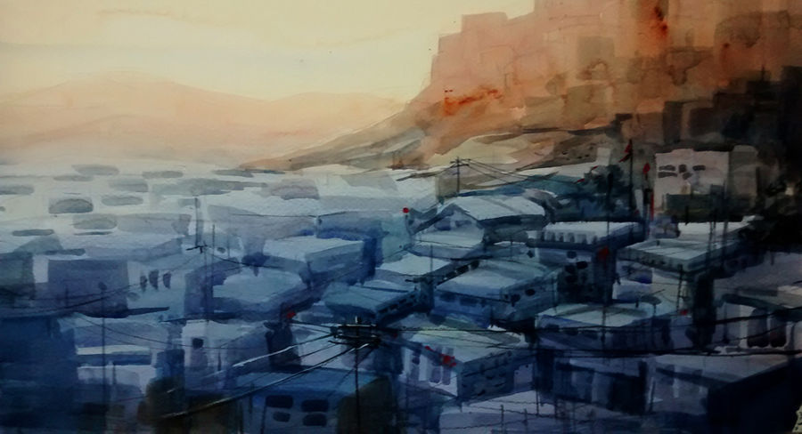jodhpur city, 21 x 15 inch, sankar thakur,landscape paintings,paintings for living room,fabriano sheet,watercolor,21x15inch,GAL0793