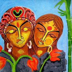 the couple, 16 x 12 inch, abhik mahanti,paintings,folk art paintings,paintings for living room,canvas,acrylic color,16x12inch,GAL040449305