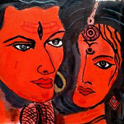 love in red , 12 x 9 inch, abhik mahanti,radha krishna paintings,paintings for living room,canvas,acrylic color,12x9inch,GAL040449307