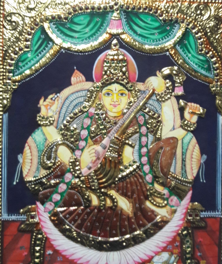 tanjore, 12 x 10 inch, dhanabal m.dhanabal,foil paintings,paintings for living room,religious paintings,tanjore paintings,hardboard,mixed media,12x10inch,GAL0436931