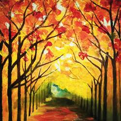 autumn trees - palette knife abstract, 10 x 12 inch, deepti dabral,paintings,nature paintings,paintings for living room,canvas,oil,10x12inch,GAL039749313Nature,environment,Beauty,scenery,greenery