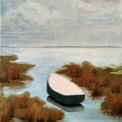 a boat - oil on canvas, 12 x 16 inch, deepti dabral,paintings,nature paintings,paintings for living room,canvas,oil,12x16inch,GAL039749315Nature,environment,Beauty,scenery,greenery