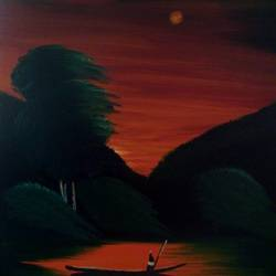 dusk on the horizon, 18 x 20 inch, nitha sashi,paintings,landscape paintings,paintings for bedroom,canvas board,oil,18x20inch,GAL036309316