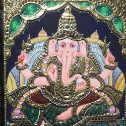 tanjore, 12 x 10 inch, dhanabal m.dhanabal,foil paintings,paintings for living room,religious paintings,tanjore paintings,hardboard,mixed media,12x10inch,GAL0436932