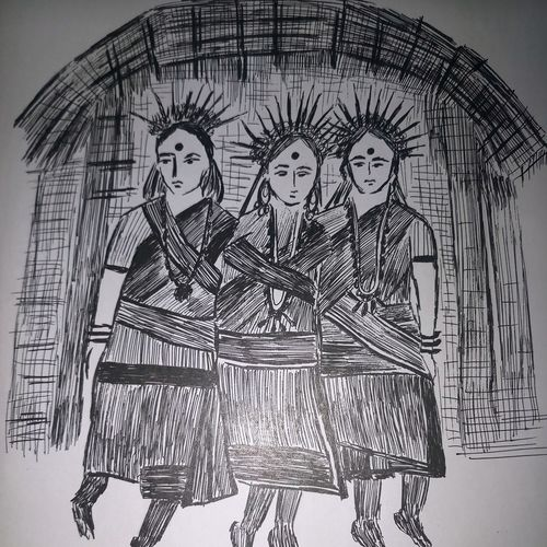 tribal ladies, 10 x 20 inch, shuchita srivastava,drawings,abstract expressionist drawings,paintings for living room,paper,ink color,10x20inch,GAL039849322