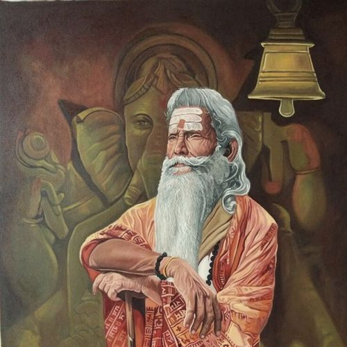 agamya , 24 x 36 inch, tavishi kanoria,religious paintings,paintings for living room,vertical,canvas,oil,24x36inch,GAL013969327