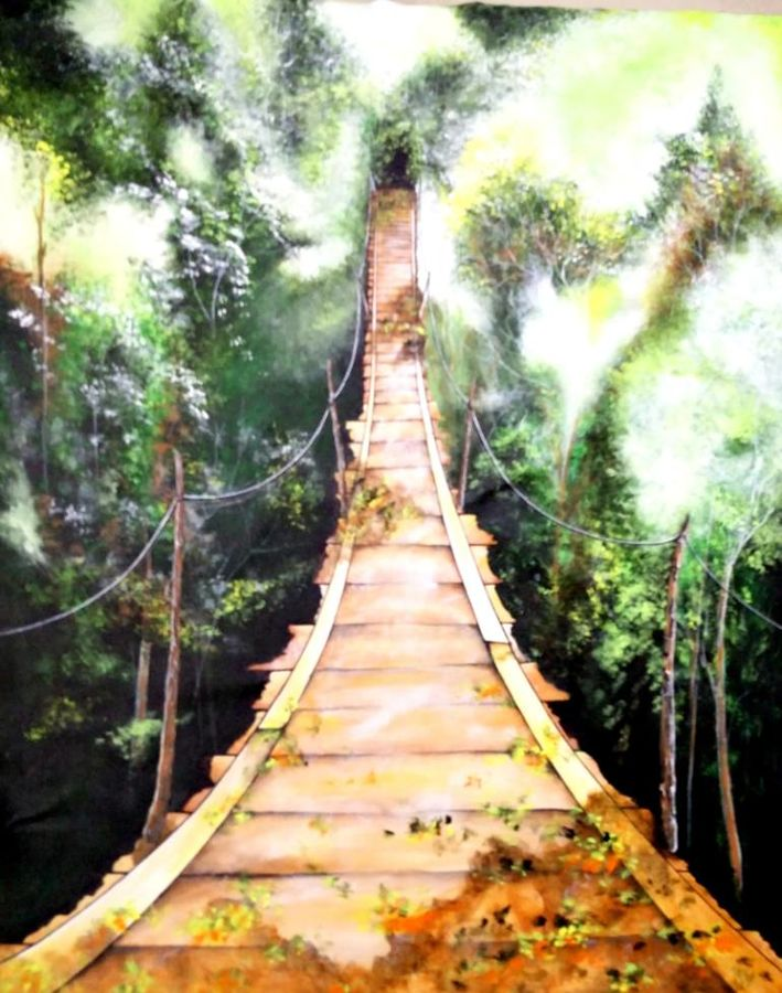by the bridge, 20 x 26 inch, colorful art arts and crafts,nature paintings,paintings for living room,canvas,acrylic color,20x26inch,GAL0393933Nature,environment,Beauty,scenery,greenery