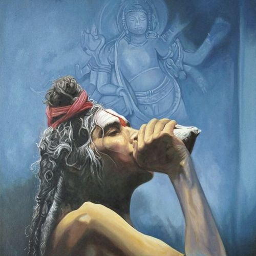 praanavi , 24 x 36 inch, tavishi kanoria,religious paintings,paintings for living room,vertical,canvas,oil,24x36inch,GAL013969332