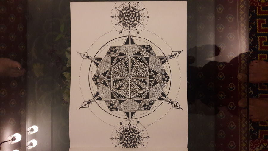 mandala art, 11 x 13 inch, chandhini chandrasekar ,drawings,art deco drawings,paintings for living room,thick paper,ink color,11x13inch,GAL032869337