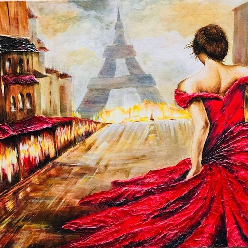 pursuit of romance, 24 x 18 inch, shreeshti sethi,paintings,cityscape paintings,paintings for living room,canvas,acrylic color,24x18inch,GAL040789345