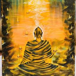 riverside buddha, 8 x 12 inch, shreeshti sethi,paintings,buddha paintings,paintings for living room,canvas,acrylic color,8x12inch,religious,peace,meditation,meditating,gautam,goutam,buddha,shadow,GAL040789347