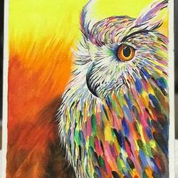 colored owl, 8 x 12 inch, shreeshti sethi,paintings,wildlife paintings,paintings for living room,canvas,acrylic color,8x12inch,GAL040789348