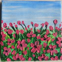 flowers with knife, 6 x 6 inch, shreeshti sethi,paintings,flower paintings,paintings for living room,canvas,acrylic color,6x6inch,GAL040789349