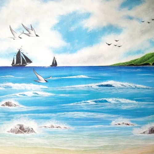 beach holiday, 26 x 20 inch, colorful art arts and crafts,landscape paintings,paintings for dining room,water fountain paintings,canvas,acrylic color,26x20inch,GAL0393935