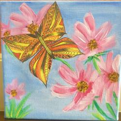 butterfly on flower, 6 x 6 inch, shreeshti sethi,paintings,flower paintings,paintings for living room,canvas,acrylic color,6x6inch,GAL040789350