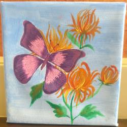 butterfly on flower, 6 x 6 inch, shreeshti sethi,paintings,flower paintings,paintings for living room,canvas,acrylic color,6x6inch,GAL040789351