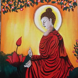 sign of peace - buddha, 12 x 16 inch, vaishali kapur,buddha paintings,paintings for living room,canvas,acrylic color,12x16inch,religious,peace,meditation,meditating,gautam,goutam,buddha,red,lotus,side face,GAL039589353