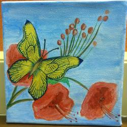 butterfly on flower, 6 x 6 inch, shreeshti sethi,paintings,flower paintings,paintings for living room,canvas,acrylic color,6x6inch,GAL040789354