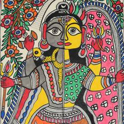 madhubani -art028-beautiful--of-shivji-and-parvatiji, 111 x 15 inch, puja keshri,folk art paintings,paintings for living room,madhubani paintings,thick paper,pastel color,111x15inch,GAL038989358