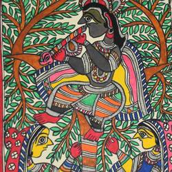madhubani paintings - gopi-worshipping-shri-krishnaji, 11 x 15 inch, puja keshri,folk art paintings,paintings for living room,radha krishna paintings,madhubani paintings,thick paper,pastel color,11x15inch,GAL038989359,radha,krishna,love,flute,lordkrishna,lordradha,