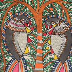 madhubani -art038-beautiful--of-peacock-sitting-on-tree, 11 x 15 inch, puja keshri,folk art paintings,paintings for living room,madhubani paintings,thick paper,pastel color,11x15inch,GAL038989360