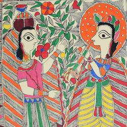 madhubani paintings - eternal love of shri krishna and radhaji, 11 x 15 inch, puja keshri,folk art paintings,paintings for living room,radha krishna paintings,madhubani paintings,thick paper,pastel color,11x15inch,GAL038989361, Madhubani,radha,krishna,love,lord,lordkrishna,flute,peace,flute