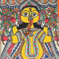 madhubani -art044 jai shri ganesh, 11 x 15 inch, puja keshri,folk art paintings,paintings for living room,ganesha paintings,madhubani paintings,thick paper,pastel color,11x15inch,GAL038989362,vinayak,ekadanta,ganpati,lambodar,peace,devotion,religious,lord ganesha,lordganpati