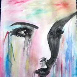 face, 11 x 16 inch, kajal  sharma,paintings,figurative paintings,paintings for bedroom,thick paper,watercolor,11x16inch,GAL035729364