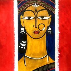 beauty of a woman.., 9 x 10 inch, seema agrawal,paintings,paintings for office,love paintings,cartridge paper,watercolor,9x10inch,GAL018599366