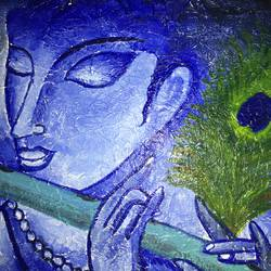 shree krishna, 12 x 10 inch, swathi joshi,paintings for living room,radha krishna paintings,paintings for dining room,canvas,acrylic color,12x10inch,GAL040969373,krishna,peace,flute,lordkrishna,devotion