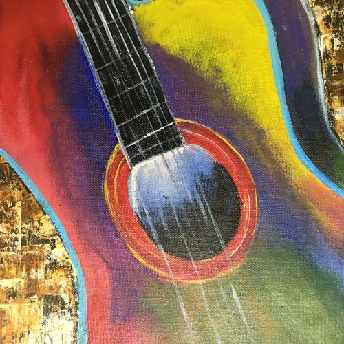 guitar, 12 x 10 inch, swathi joshi,abstract paintings,paintings for living room,canvas,acrylic color,12x10inch,GAL040969378