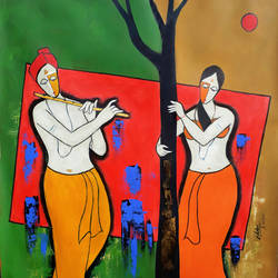 beautiful couple, 29 x 29 inch, chetan katigar,figurative paintings,paintings for living room,canvas,mixed media,29x29inch,GAL0266938