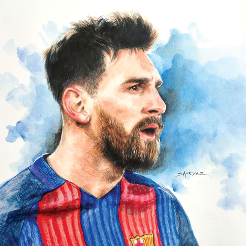 lionel messi, 12 x 9 inch, shreyas pailkar,drawings,fine art drawings,paintings for living room,paper,pencil color,12x9inch,GAL026029383