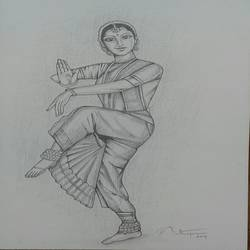 baratha natiyam dance, 8 x 11 inch, sujitha artgallery,figurative drawings,paintings for living room,thick paper,pencil color,8x11inch,GAL04969388