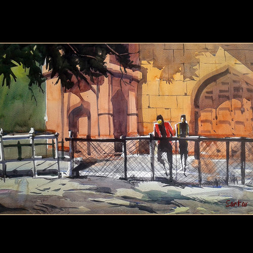 light and shadows, 15 x 11 inch, sankar thakur,landscape paintings,paintings for living room,fabriano sheet,watercolor,15x11inch,GAL0794