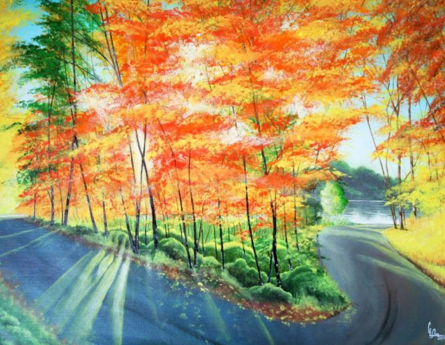 lake side drive, 26 x 21 inch, colorful art arts and crafts,landscape paintings,nature paintings,paintings for dining room,paintings for living room,paintings for office,canvas,acrylic color,26x21inch,GAL0393940Nature,environment,Beauty,scenery,greenery