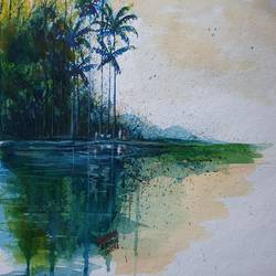 river nature, 14 x 10 inch, mahendra shewale,nature paintings,paintings for living room,paper,watercolor,14x10inch,GAL018729409Nature,environment,Beauty,scenery,greenery