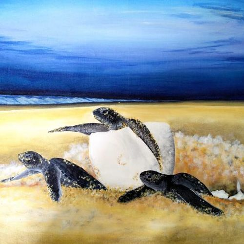 turtle hatchlings, 26 x 20 inch, colorful art arts and crafts,wildlife paintings,nature paintings,paintings for dining room,paintings for living room,paintings for bedroom,paintings for office,animal paintings,canvas,acrylic color,26x20inch,GAL0393941Nature,environment,Beauty,scenery,greenery