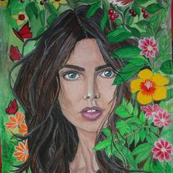 happy girl , 10 x 8 inch, meena patil,figurative paintings,flower paintings,canvas,poster color,10x8inch,GAL041089418
